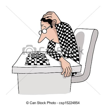 Clipart Vector of A chess player is thinking his next move in a.
