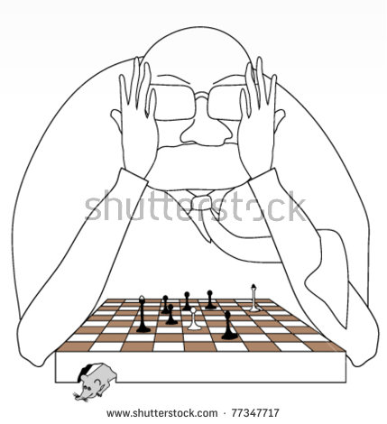 Chess Master In Cartoon Style Stock Vector Illustration 77347717.