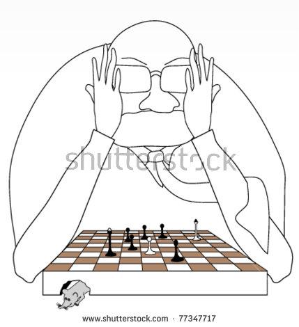 Chess Master In Cartoon Style Stock Vector Illustration 77347717.
