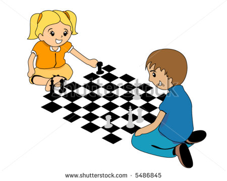 Men Play Chess Caricature Complex Combination Stock Vector.