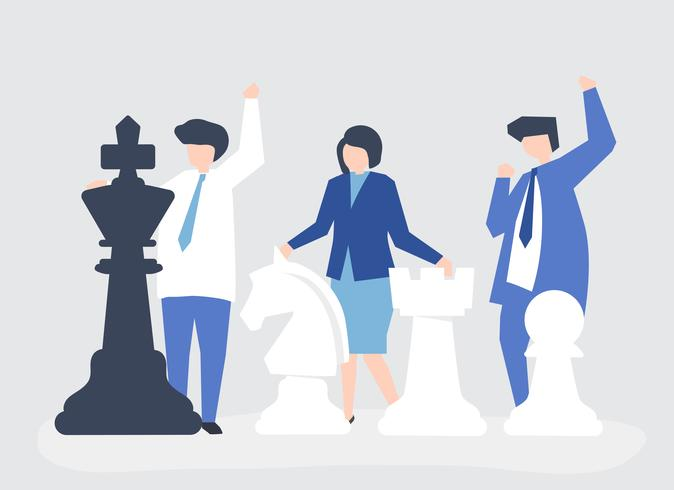 Business people with giant chess pieces.