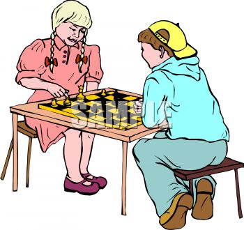 Royalty Free Clip Art Image: Children playing chess.