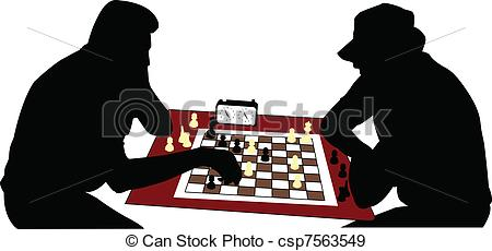 EPS Vectors of chess players silhouette.