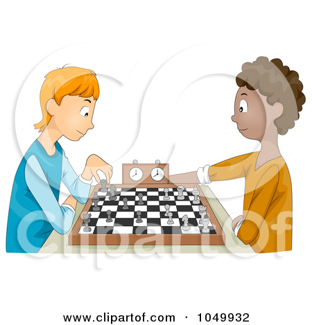 Clipart of Happy Children with Life Size Chess Pieces.
