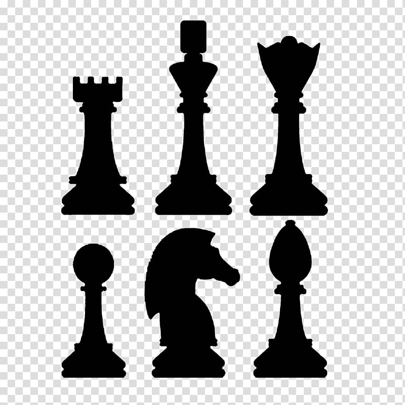 Six silhouette assorted chess piece, Chess piece Rook Bishop.