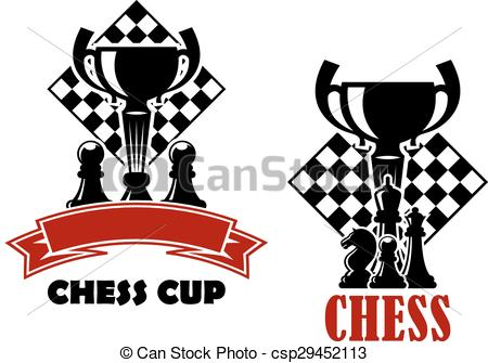 Vector Clip Art of Chess game icons with cup and chessmen.