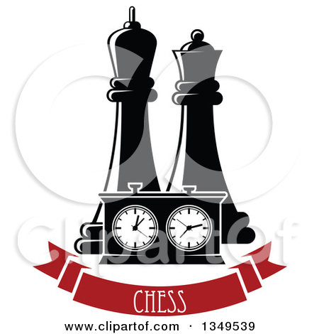 Clipart of Black and White Chess King and Queen Pieces and a Game.