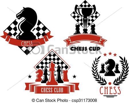 Vector Clipart of Chess game club and cup icons.