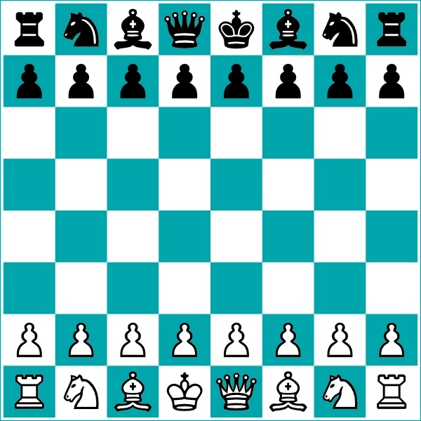 Chess Board And Pieces clip art Free vector in Open office drawing.