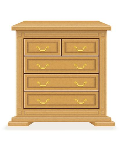 old retro wooden furniture chest of drawers vector.