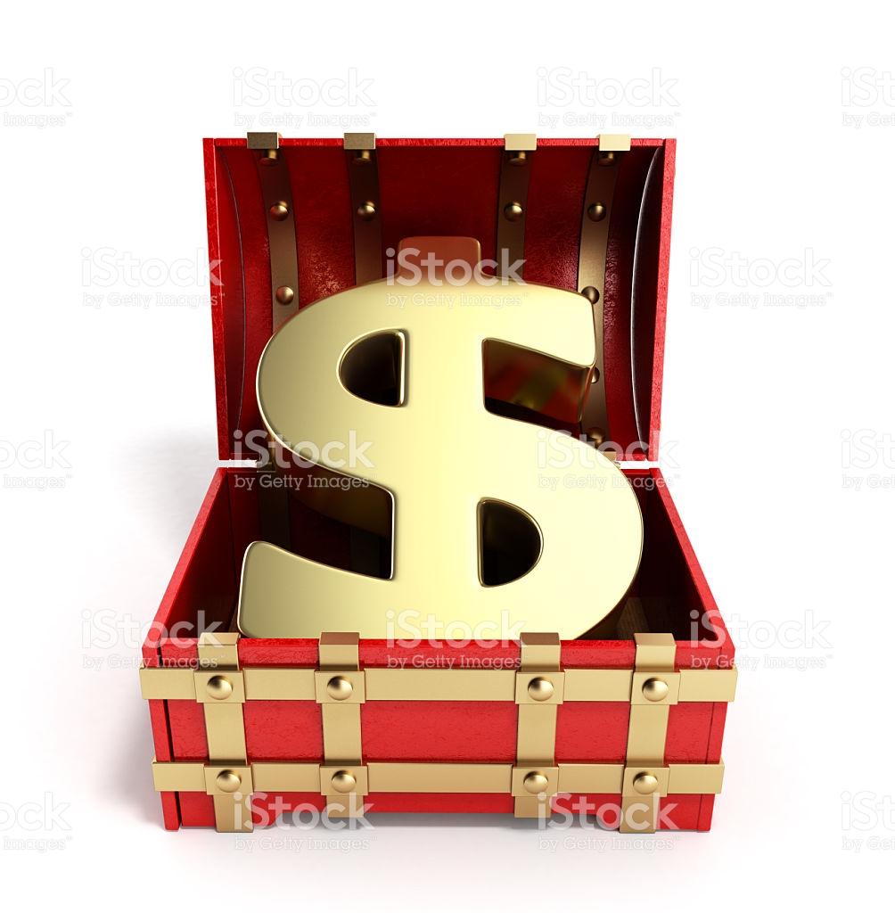 Open Red Chest With Golden Dollar Sign 3d Render stock vector art.