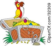 Clipart Illustration of a Red And Yellow Parrot In Profile by Alex.