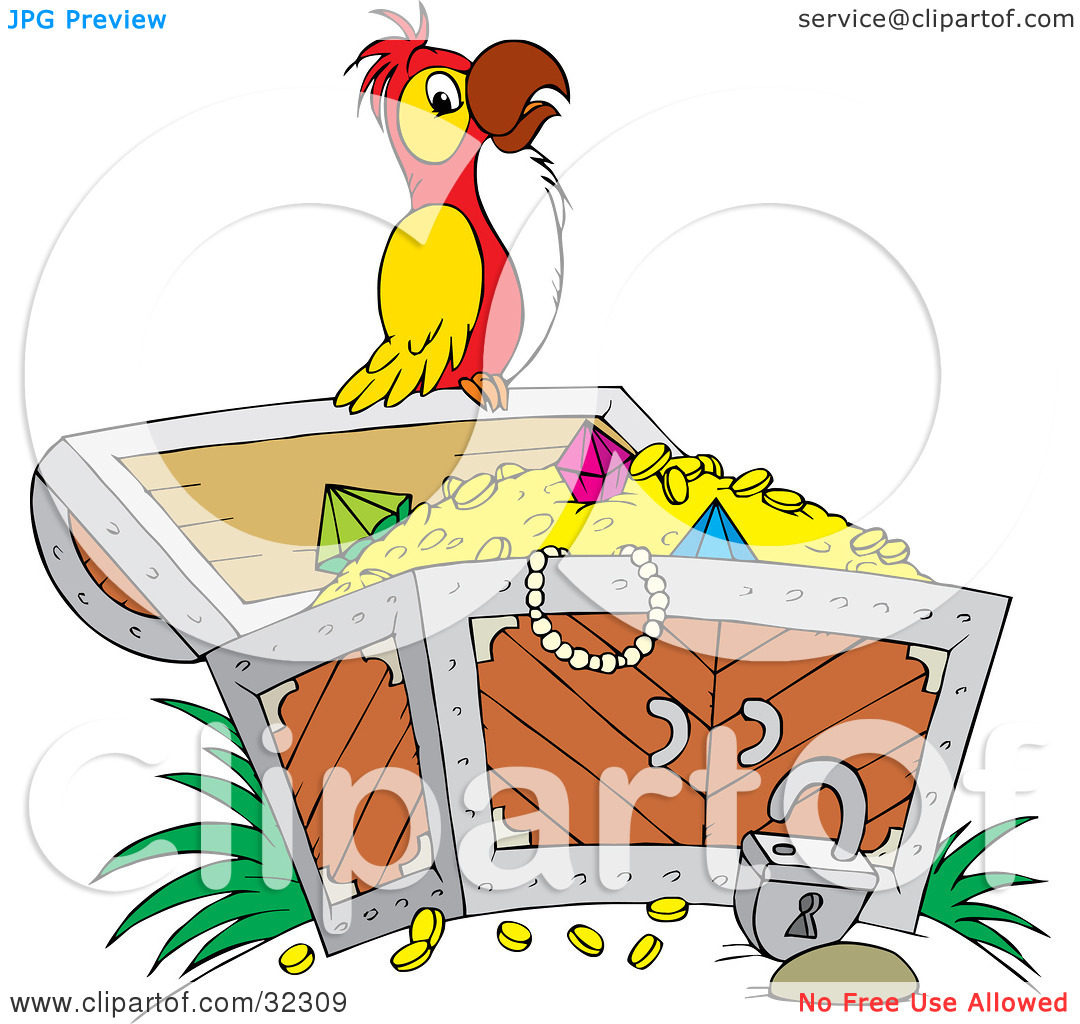 Clipart Illustration of a Red, White And Yellow Parrot Perched On.