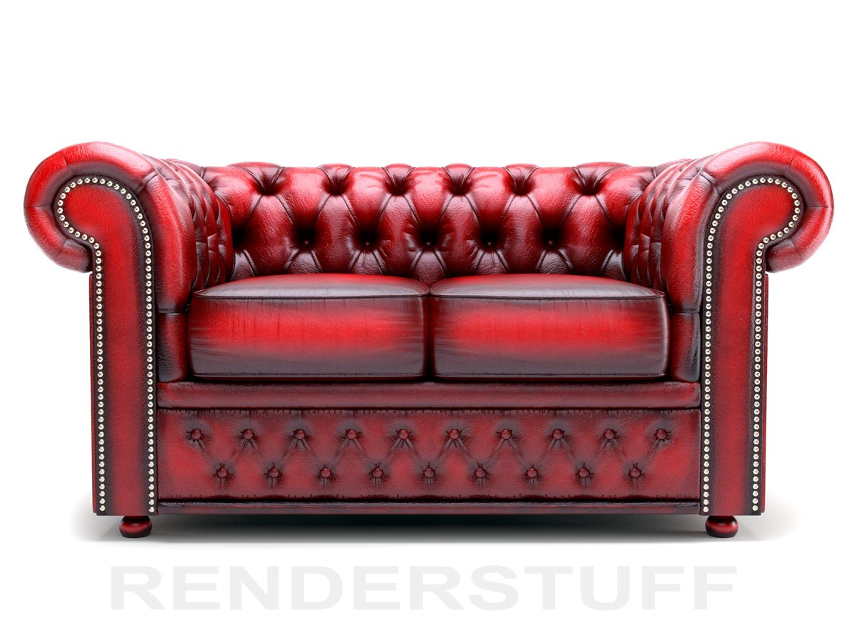 Chesterfield settee 3d model leather.