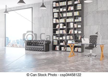 Clip Art of Modern loft personal office with chesterfield sofa.