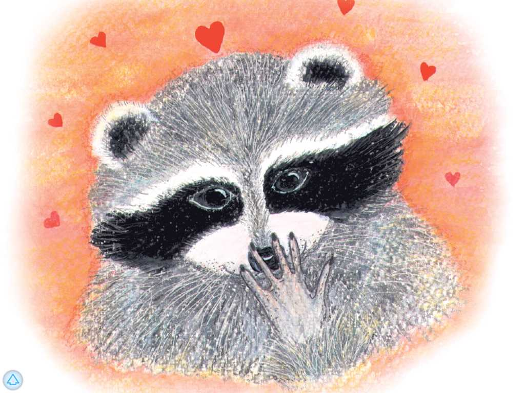 Kissing hand raccoon clipart.