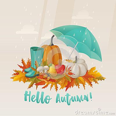 Fall Or Autumn Leaves And Apple, Mushroom On It Stock Vector.