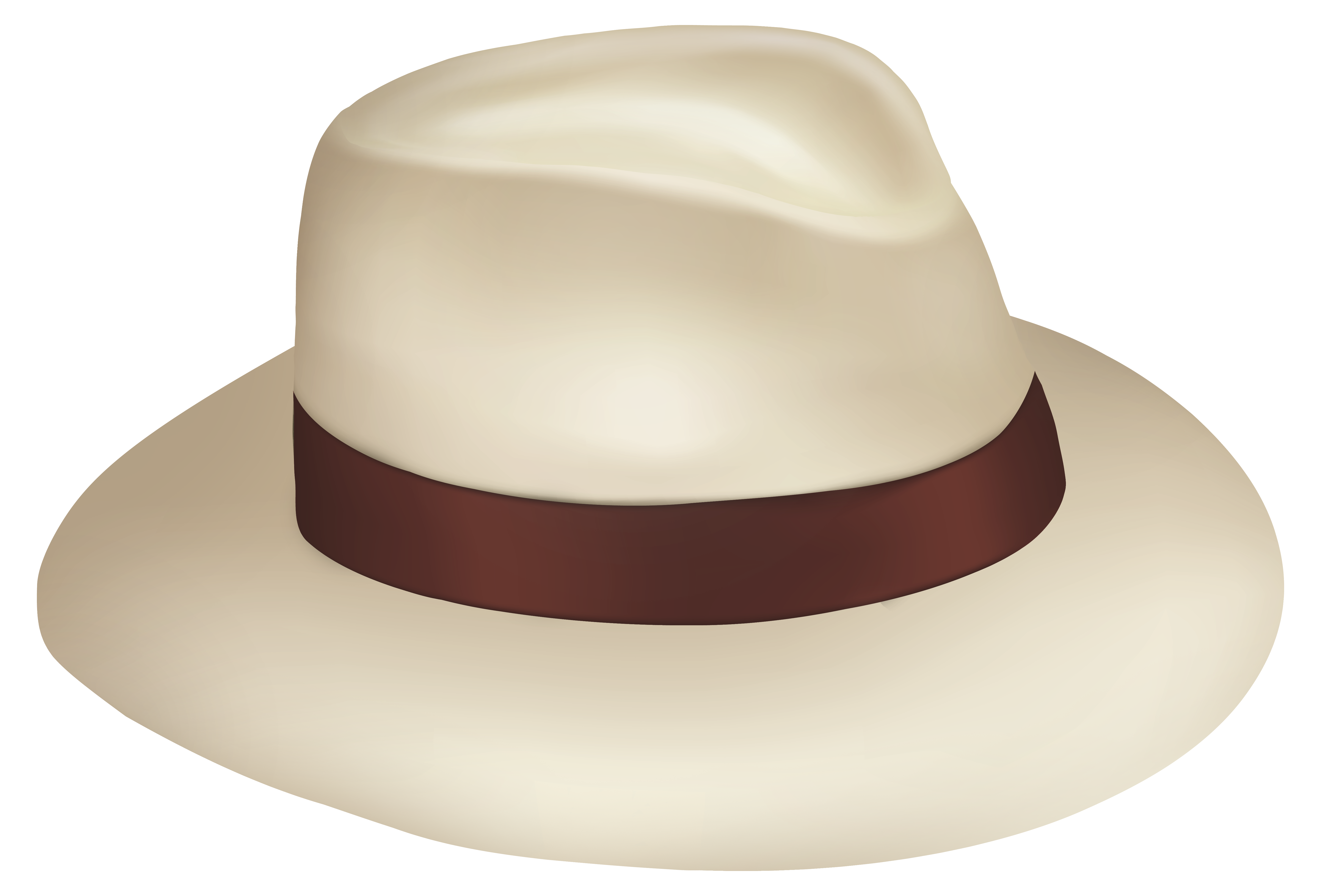 Panama Sun Hat With Brown Ribbon PNG Clipart.