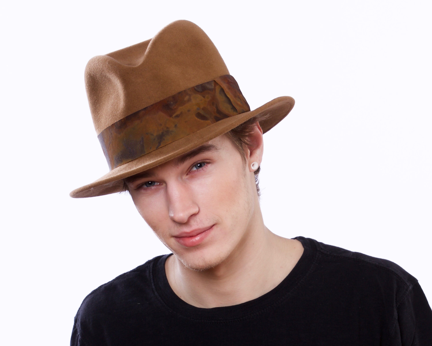Brown felt hat.