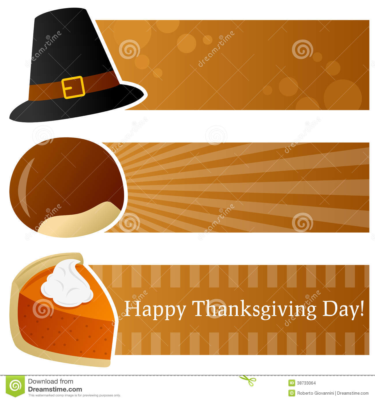 Thanksgiving Day Horizontal Banners Stock Images.
