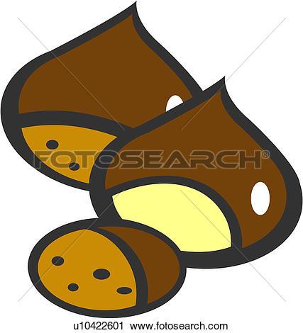 Clip Art of nut, sign, plants, plant, prohibition, chestnut.