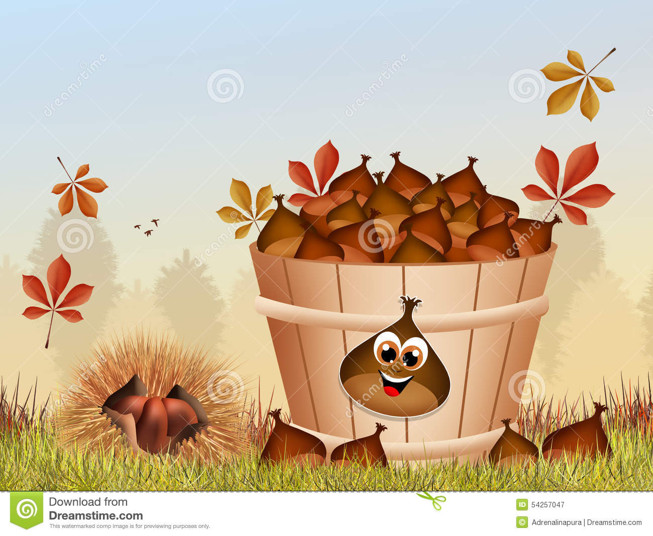 Chestnuts In The Bucket Stock Illustration.