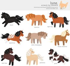 Horse Clipart. Cute Pony Clipart. Chestnut, Dapple Grey, Black.