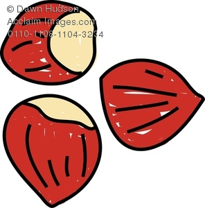 Clipart Image of A Whimsical Drawing of Chestnuts.
