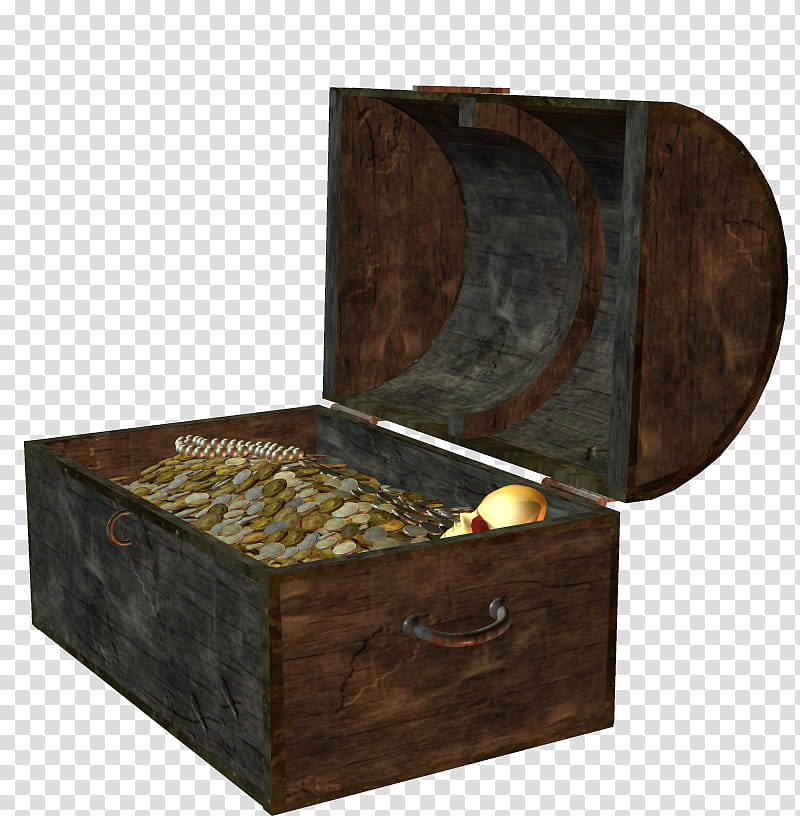 Treasure Chests, brown wooden trunk chest is filled with coins.