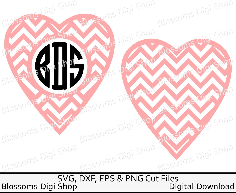 Chevron heart svg, instant download, monogram svg, valentine svg.
