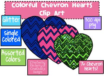 Clip Art: Colorful Chevron Hearts.
