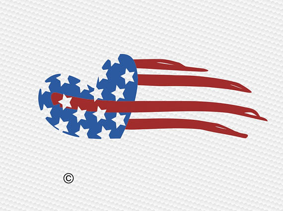 American flag heart usa SVG Clipart Cut Files Silhouette Cameo Svg.