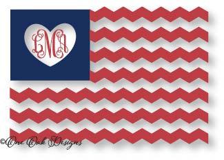 American Flag Heart Chevron Flag Cut File SVG Vector PDF for Cameo.