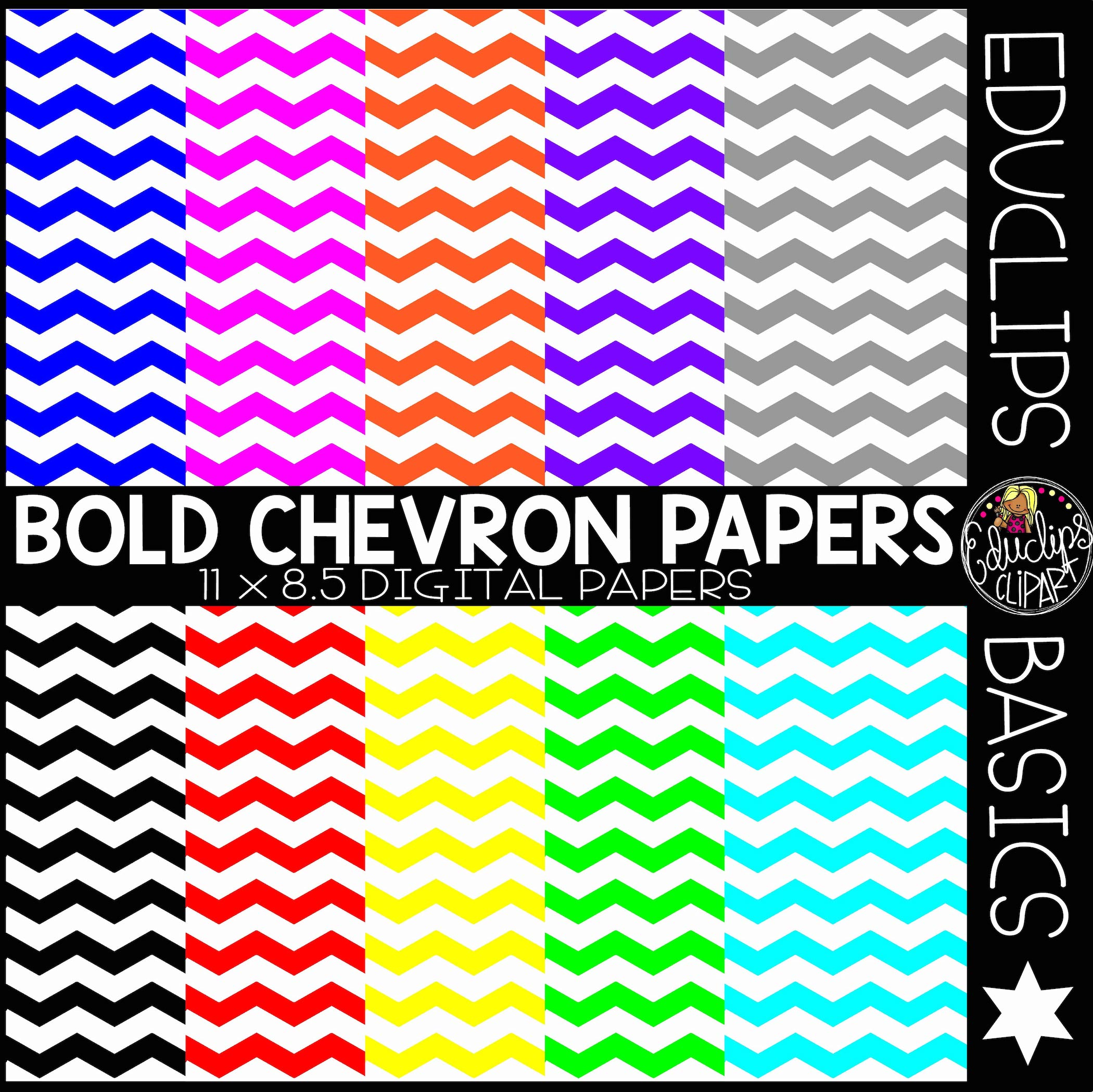 Educlips Basics ~ Bold Chevron Digital Papers Clip Art Set.