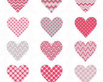 Geometric and Curly Heart Clipart in Faceted Triangle Pattern.