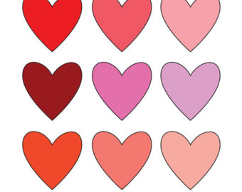 Items similar to Valentine Heart Clipart, Patterned Hearts Digital.