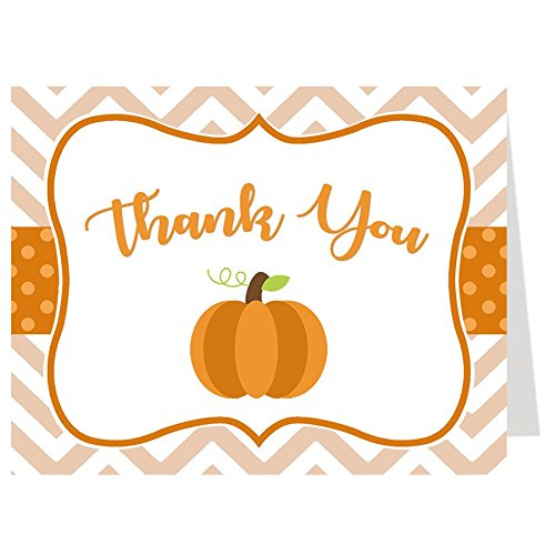Thank You Cards, Baby Shower Thank You Cards, Chevron Little Pumpkin,  White, Orange, Brown, Green, Polka Dots, Chevron Stripes, Pumpkin, Fall  Baby,.