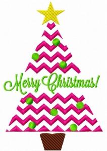 Chevron Striped Split Christmas Tree Embroidery Design.