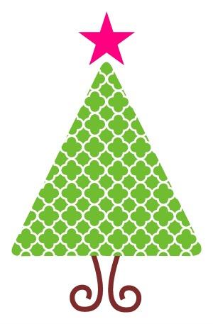 Quatrefoil Christmas Tree SVG.