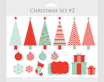 Chevron christmas tree clipart red teal.