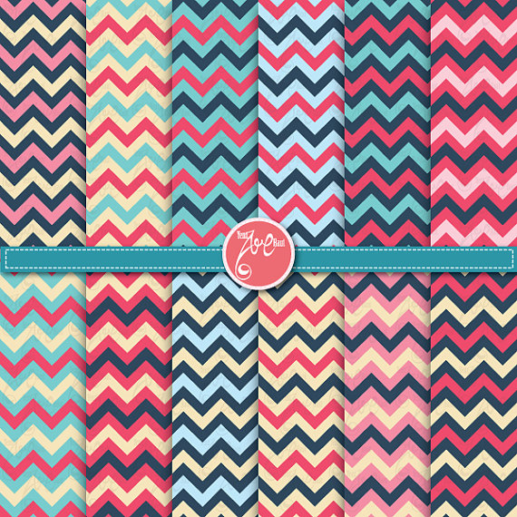 Chevron digital paper pack ,Chevron Clip Art , Chevron Pattern.