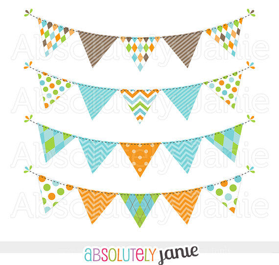 Sweet Colorful Tag Bunting Clipart Chevron by AbsolutelyJanie.