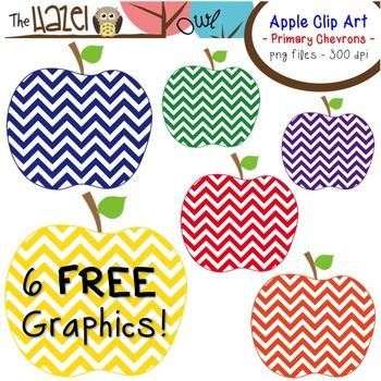 FREE Primary Chevron Apple Clip Art! 6 FREE Graphics!.