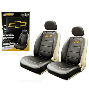 Details about New Chevy Bowtie Synthetic Leather Sideless Car Truck 2 Front  Seat Covers Set.