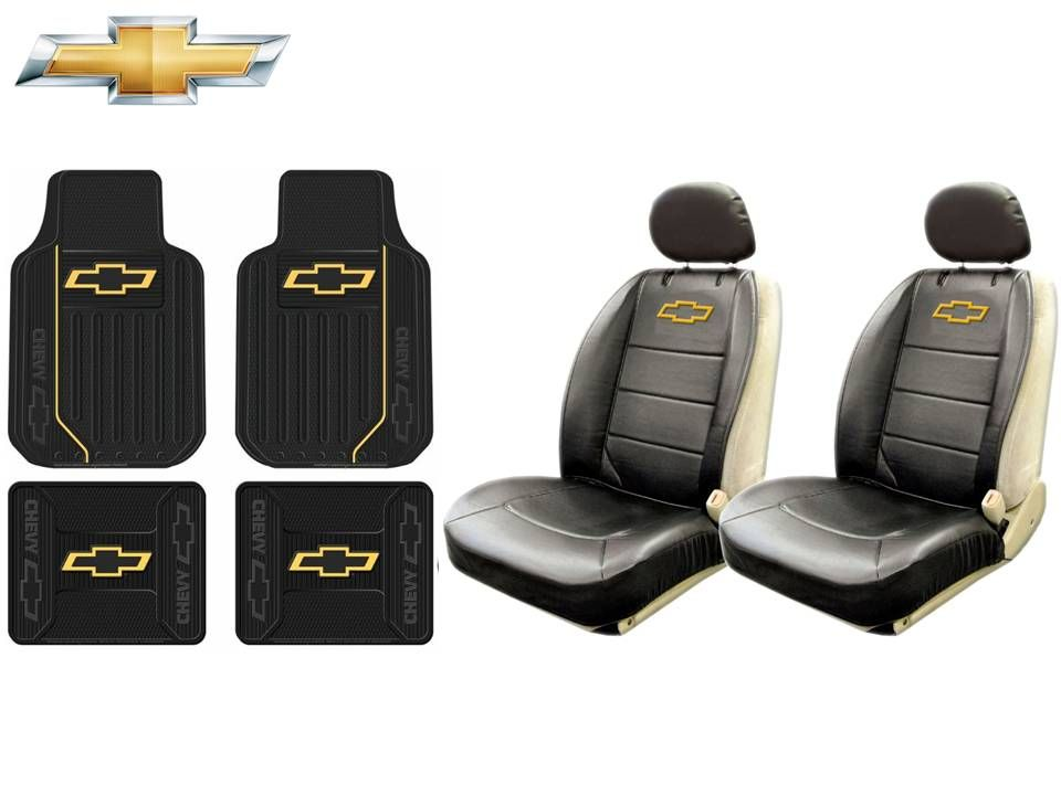 Details about 8 Pc Chevrolet Chevy Elite Seat Covers Syn Leather &  Front/Rear Rubber Floor Mat.