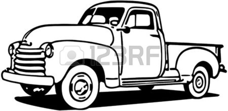 Chevy Truck Line Art.