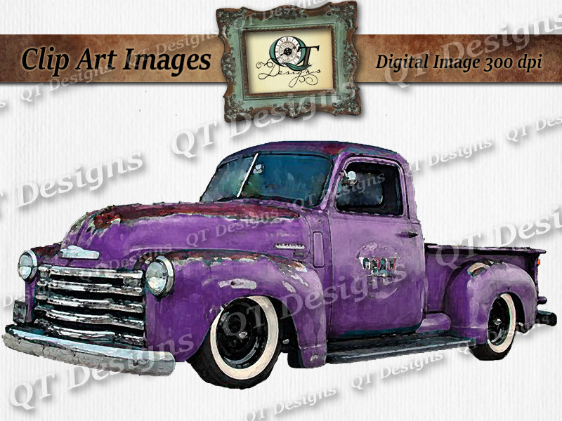 Purple Vintage retro chevy Truck Clipart Purple Rusty Rustic Country.