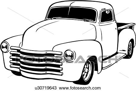 Illustration, lineart, classic, 1949, chevy, pickup, truck Clipart.
