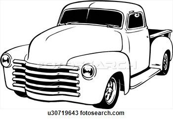 Old Truck Drawing Clipart.