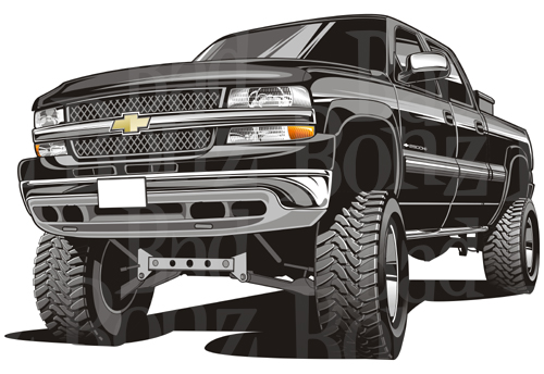 Lifted Chevy Truck Silhouette.